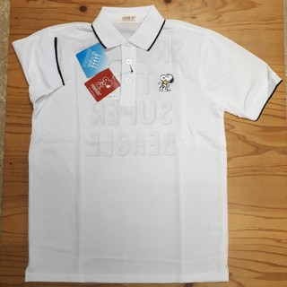 ピーナッツ(PEANUTS)の新品タグ付き 白 スヌーピー ポロシャツ Mサイズ(ポロシャツ)