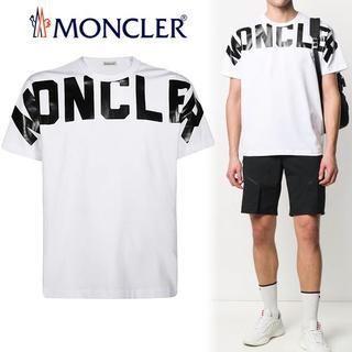 MONCLER - 60 MONCLER ホワイト ロゴレタリング 半袖 Tシャツ L