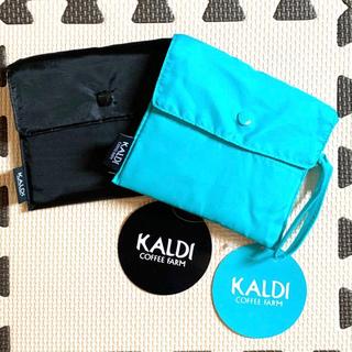 カルディ(KALDI)の(1577)☆ カルディ エコバック 青 黒 エコバッグ KALDY ブラック(エコバッグ)