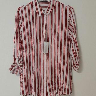 ZARA - 新品ストラディバリウスサイズ Sストライプ シャツ七分袖 赤 襟