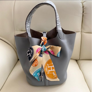 Hermes - 上品なピコタンロックHERMES水色(ブルーラン)22cmハンドバッグ