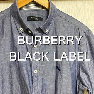 BURBERRY BLACK LABEL - 【美品】BURBERRY BLACK LABEL 光沢ブルー 半袖シャツ