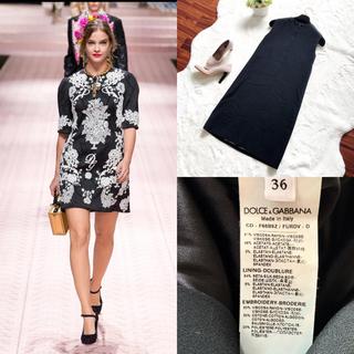 DOLCE&GABBANA - 美品 ドルガバ  お刺繍 お花柄 ワンピース ドレス