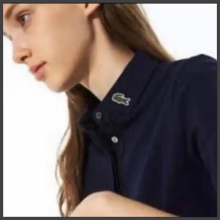 LACOSTE - 最終お値下げ LACOSTEスリムフィット襟ロゴ比翼ポロシャツ ネイビー