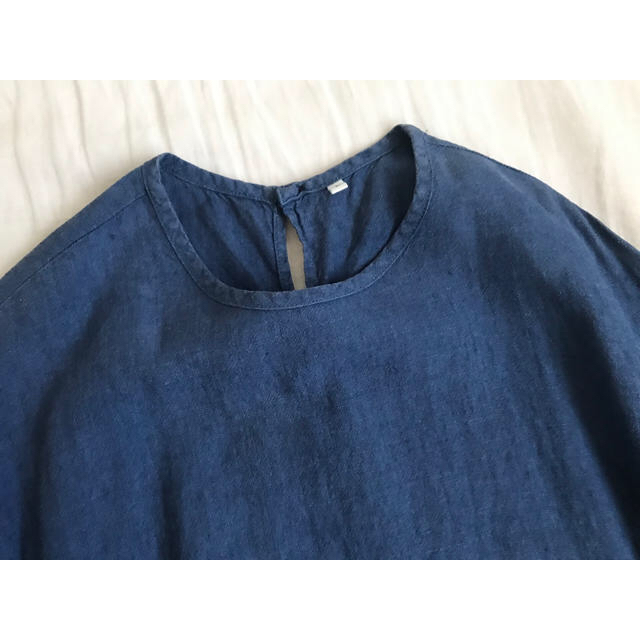 MUJI (無印良品)(ムジルシリョウヒン)の無印良品 七分袖リネンワンピース レディースのワンピース(ひざ丈ワンピース)の商品写真