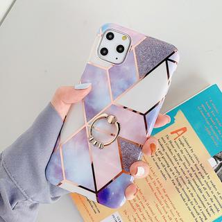 指リング付き大理石ケース パープル iPhone11専用ケース