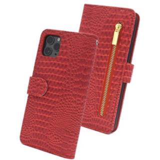 iPhone11promax クロコダイル手帳型ケース レッド 赤