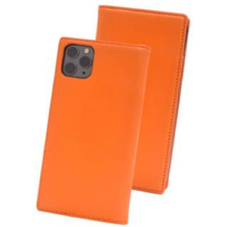 iPhone11promax 羊本革手帳型ケース オレンジ