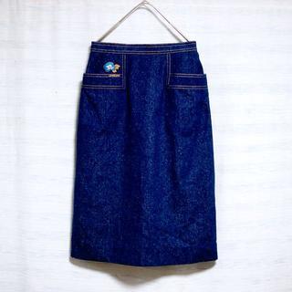 レオナール(LEONARD)のレオナール LEONARD シルク100% スカート 膝丈 デニム(ひざ丈スカート)