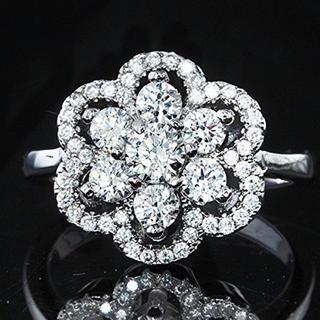 SWAROVSKI - スワロフスキー ジェム Wフラワー デザインリング指輪 K18GPレーザー刻印入
