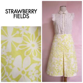 STRAWBERRY-FIELDS - 【ストロベリーフィールズ】夏スカート☆花柄☆イエローホワイト☆コットン