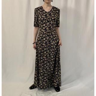エディットフォールル(EDIT.FOR LULU)のsham様専用 Black Floral Laceup Dress(ロングワンピース/マキシワンピース)