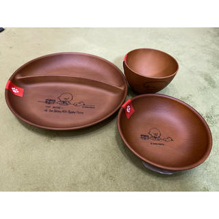 SNOOPY - スヌーピー SNOOPY 耐熱皿3点セット プレート木目調 ウレタン塗装 日本製