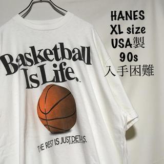 Hanes - ヘインズ ビーフィー Tシャツ 半袖 XL バスケット USA製 90s 希少