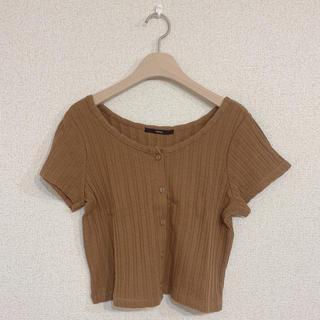 Kastane - 【kastane】ニットTシャツ 前ボタン