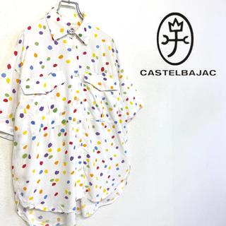 カステルバジャック(CASTELBAJAC)の美品 イタリー製 CastelBajac ドット柄 シャツ レーヨン100%(シャツ)