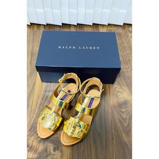 ラルフローレン(Ralph Lauren)のラルフローレン コレクション ラルフ 新品 フラットサンダル ゴールド サンダル(サンダル)