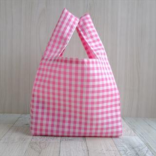 コンビニで使える小さめレジ袋型エコバッグ・ピンクチェック黒タグ(バッグ)