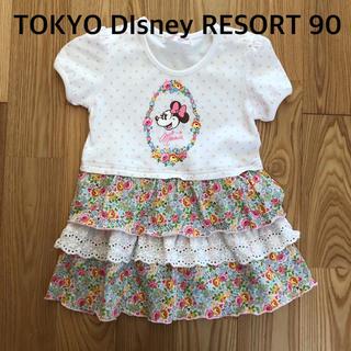 Disney - 東京ディズニーリゾート ミニーちゃん花柄ワンピース90