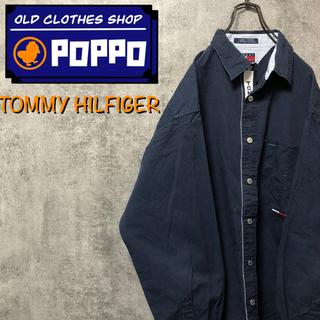 TOMMY HILFIGER - 【激レア】トミージーンズ☆テープロゴラインフラッグ刺繍ロゴワークシャツ 90s