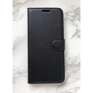 エクスペリア(Xperia)のXperiaXZ3 シンプルレザー手帳型ケース ブラック 黒(Androidケース)