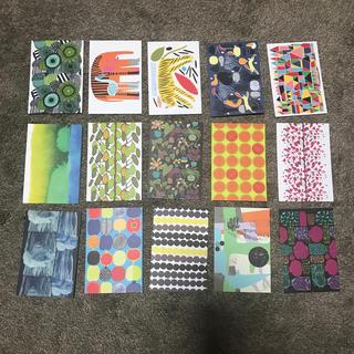 マリメッコ(marimekko)のマリメッコ ポストカード 15枚 作家作品名作成年入り(使用済み切手/官製はがき)