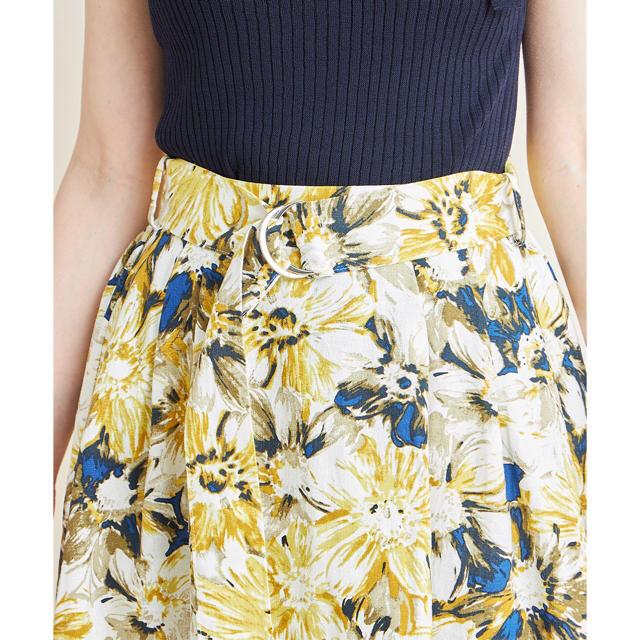 tocco(トッコ)のtocco ベルト付き配色ライン入りフラワープリントタックフレアスカート レディースのスカート(ひざ丈スカート)の商品写真