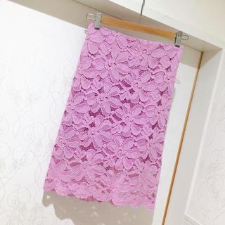 エイミーイストワール(eimy istoire)の花柄膝丈レース刺繍スカート(ひざ丈スカート)