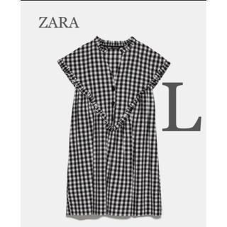 ZARA - 【新品・未使用】ZARAギンガムチェック インナーパンツ付きジャンプスーツL
