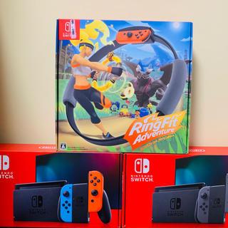ニンテンドースイッチ(Nintendo Switch)の任天堂 switch 本体 ネオン グレー リングフィットアドベンチャー(家庭用ゲーム機本体)