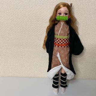 【鬼滅の刃禰豆子風〜衣装】リカちゃん ハンドメイド服