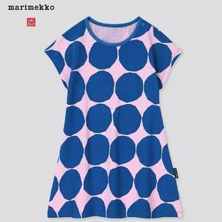マリメッコ(marimekko)のユニクロ × マリメッコ 半袖ワンピース(ドット) 80(ワンピース)