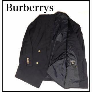 バーバリー(BURBERRY)のバーバリー 90s ダブルジャケット 紺 ネイビー AB4 ネーム入り 内側ロゴ(テーラードジャケット)