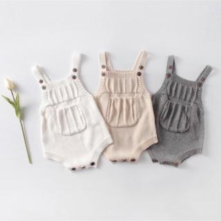 【新品未使用】韓国子供服 ニットロンパース ニットサロペット サイズ90