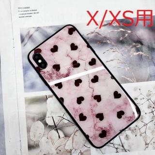 【iPhoneX/XS用:ピンク】大理石調 黒ハート柄ケース