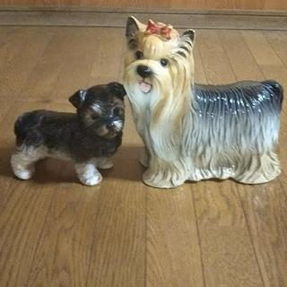 な~様専用犬の置物ヨークシャーテリア親子  陶器製 (置物)