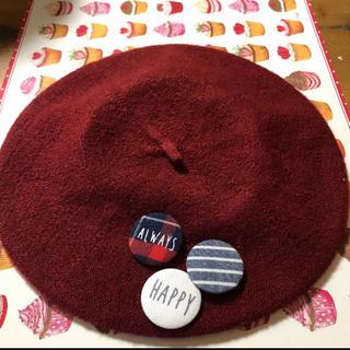 缶バッチ付きベレー帽(ハンチング/ベレー帽)
