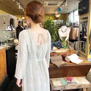 FRAY I.D - 新品タグ付き。ストライプカットジャガードドレス