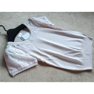 ロディスポット(LODISPOTTO)のロディスポット レーシー切り替え装飾ニット ピンク(ニット/セーター)