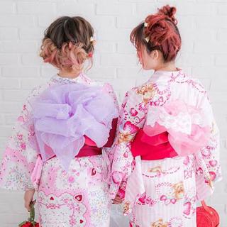 【新品】可愛い浴衣dear my love ピンク 4点セット(浴衣)