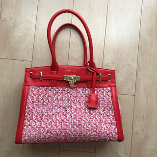 rienda - Rienda リエンダ ツイードバッグ 赤ピンク