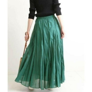 IENA - イエナ♡コットンボイルギャザーパネルスカート グリーン 38