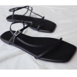 ella  squar sandal black 23.5cm