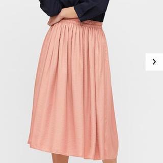 UNIQLO - ユニクロ ドレープギャザーロングスカート ピンク Mサイズ 丈短め