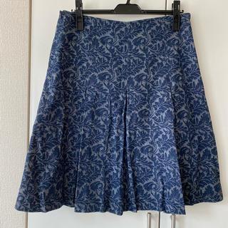 エイチアンドエム(H&M)のデニムのような素材のボックススカート(ひざ丈スカート)