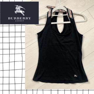 バーバリー(BURBERRY)のバーバリー♡ホルターネック タンクトップ 黒(タンクトップ)
