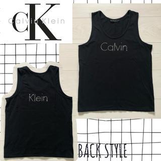 カルバンクライン(Calvin Klein)のカルバンクライン♡ラインストーンロゴ タンクトップ 黒(タンクトップ)
