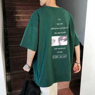 Tシャツ クルーネック プリント オーバーサイズ ルーズ 男女兼用 グリーン(カード/レター/ラッピング)