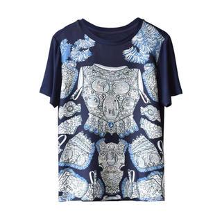 フォクシー(FOXEY)のスカーフ地の異色素材ストレッチTシャツ M おすすめ(Tシャツ(半袖/袖なし))