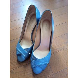 ギンザカネマツ(GINZA Kanematsu)のGINZA Kanemats24.5cm ブルーエナメルオープントゥ ハイヒール(ハイヒール/パンプス)